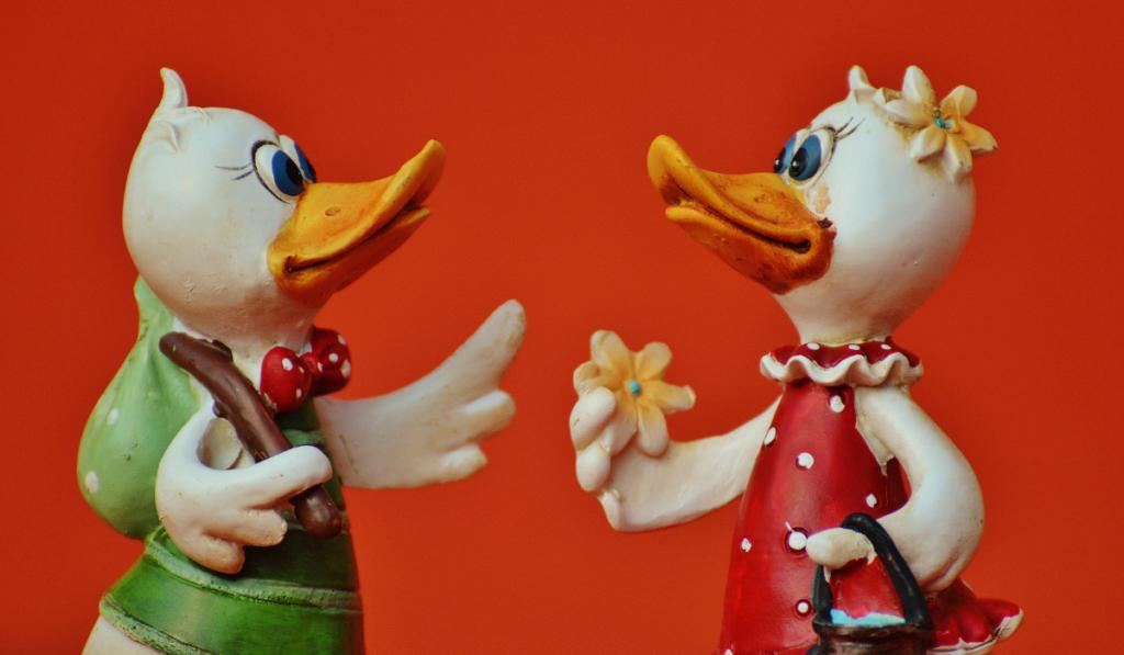 Figurine Ducks facing each other