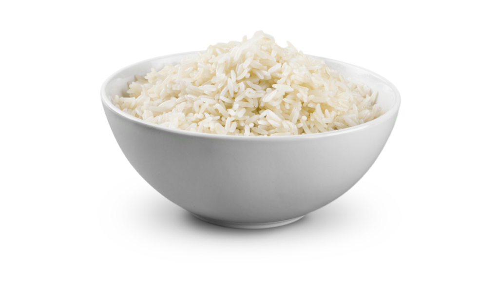 Cooked rice on a bowl
