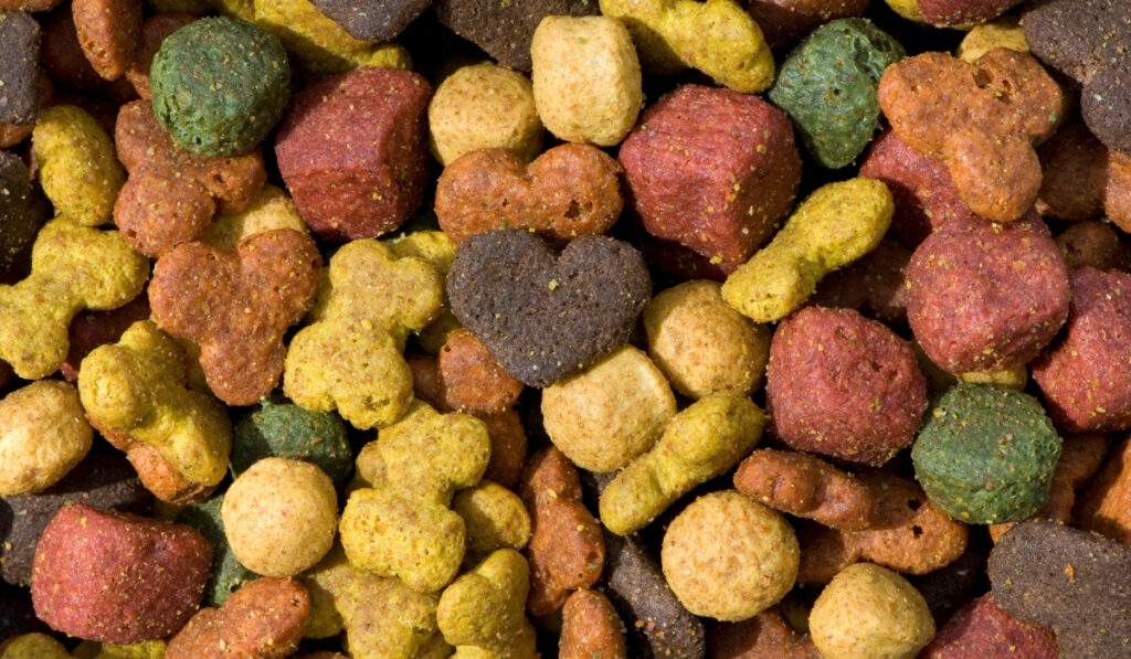 a pile of dog food in different colors and shapes