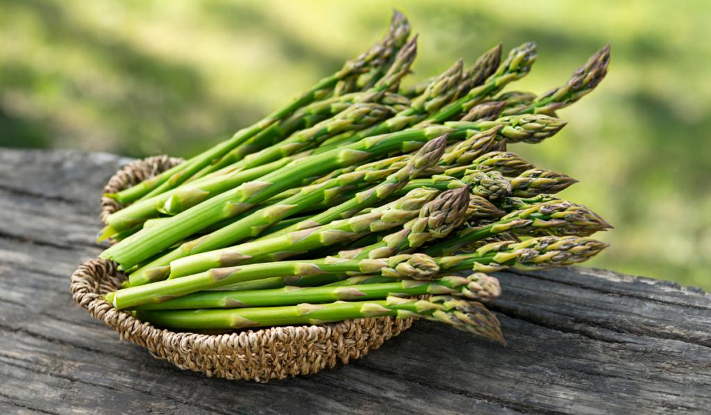 Asparagus on a brown basket