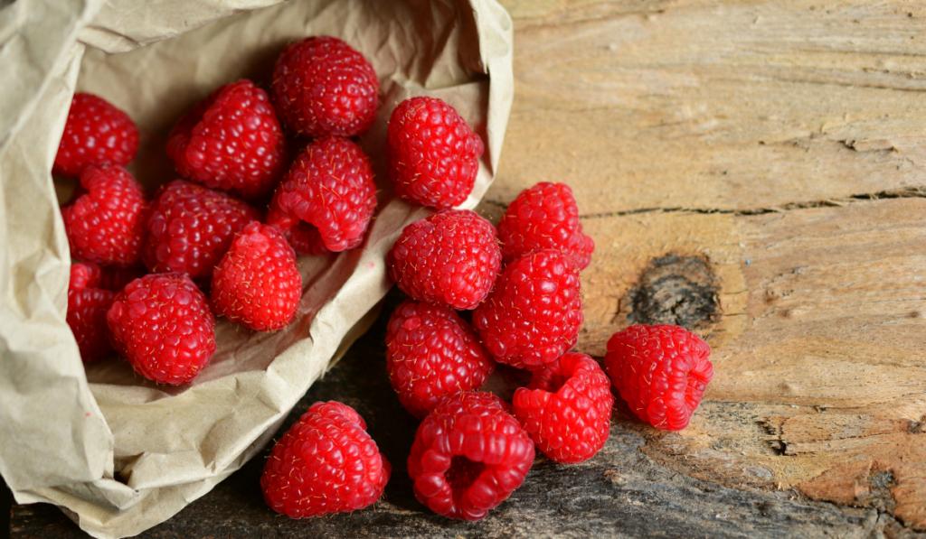 raspberries in a bag