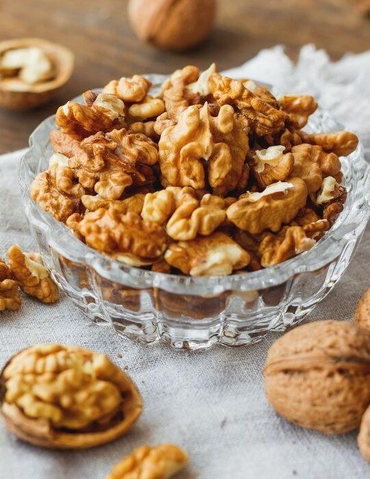 walnuts in a glass bowl